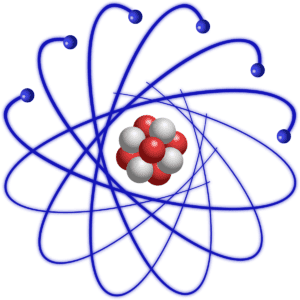 carbon atom with nucleus and electrons