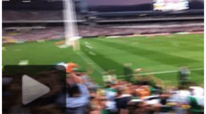 Mexican wave in stadium crowd